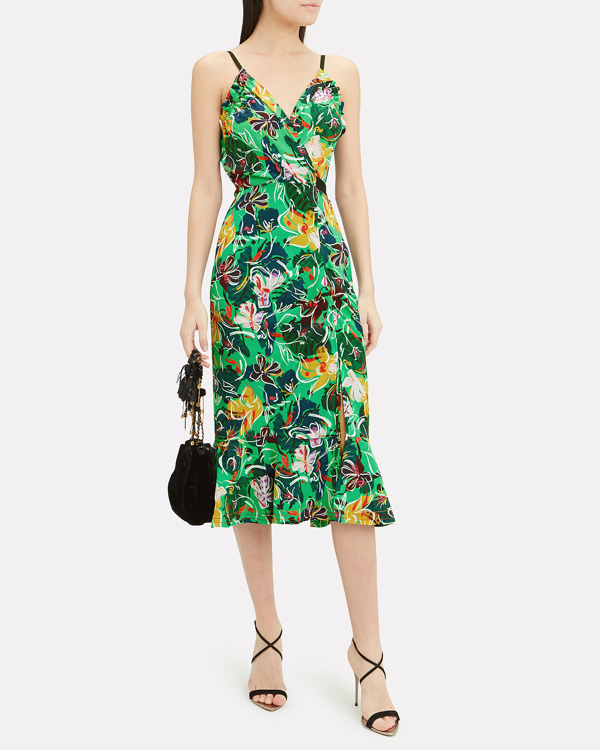Jennie Ruffle Front Midi Dress, GREEN FLORAL, hi-res