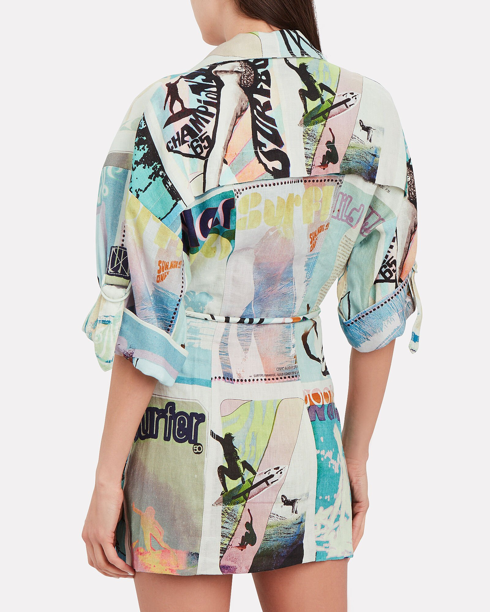 Glassy Safari Linen Shirt Dress, WHITE SURF BOARD PRINT, hi-res