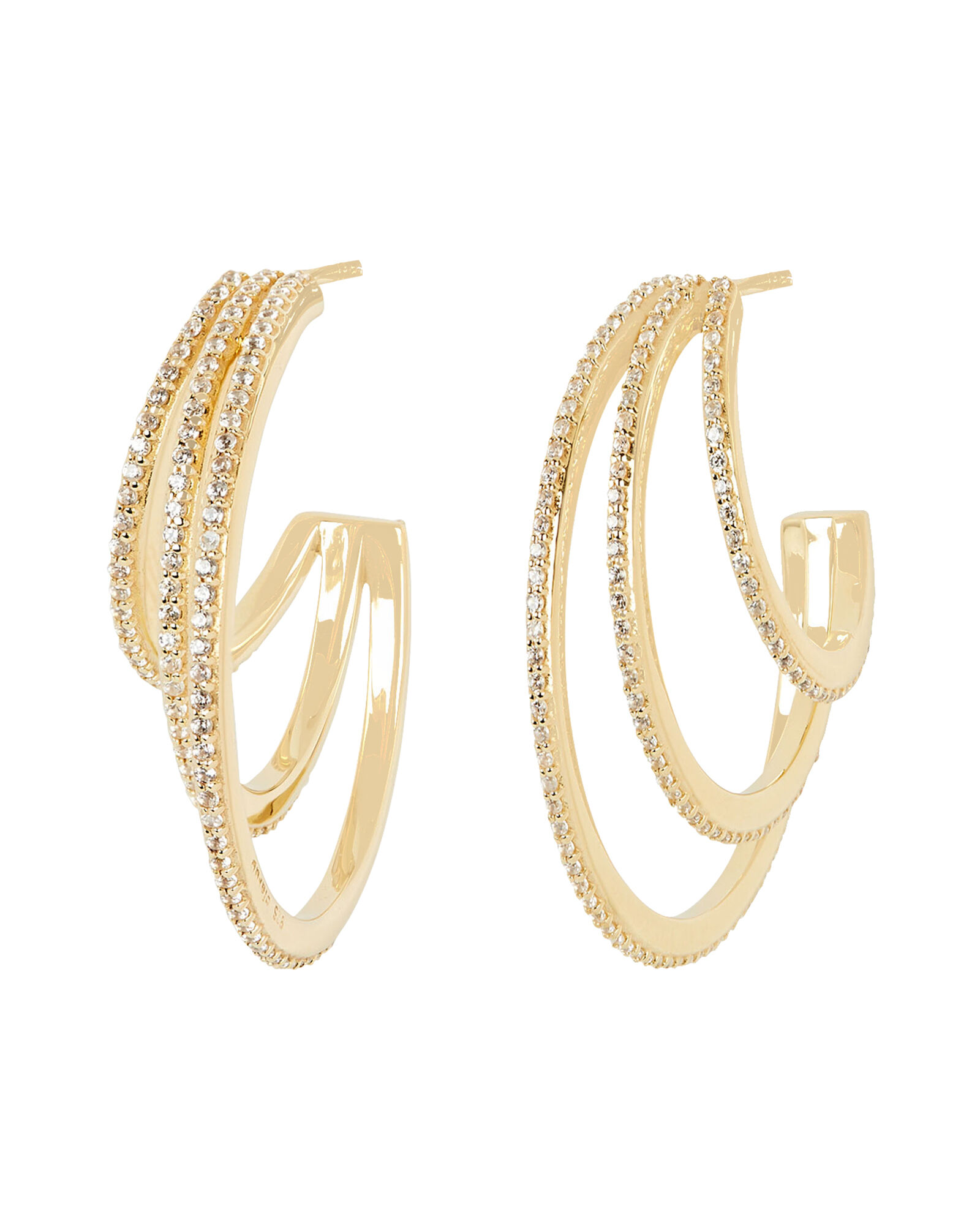Pavé Crystal Hoop Earrings, GOLD, hi-res
