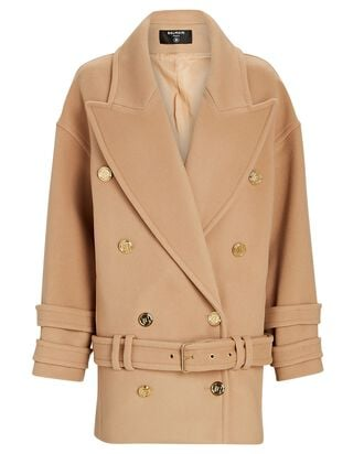 Double-Breasted Wool-Cashmere Coat, BEIGE, hi-res