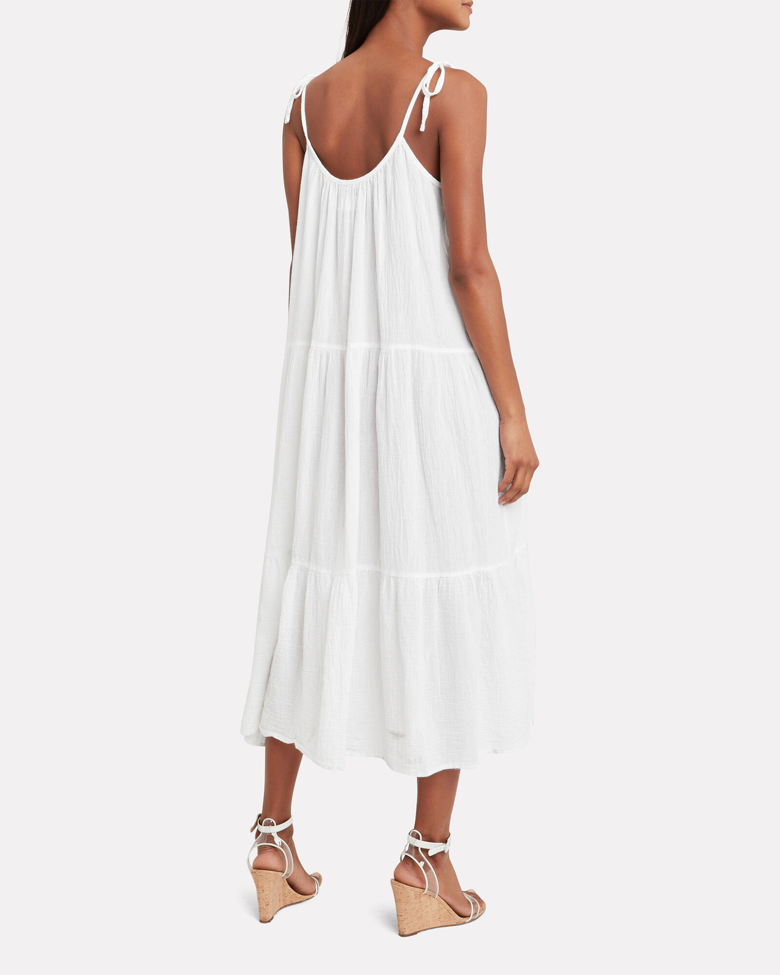 Daisy Tiered Tie Strap Dress, WHITE, hi-res