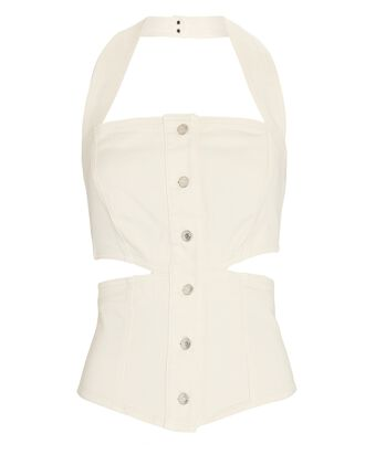 Denim Cut-Out Halter Top, IVORY, hi-res