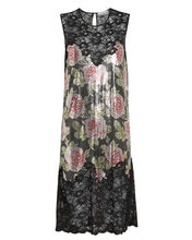 Rose Print Chainmail Dress, BLACK/ROSE, hi-res