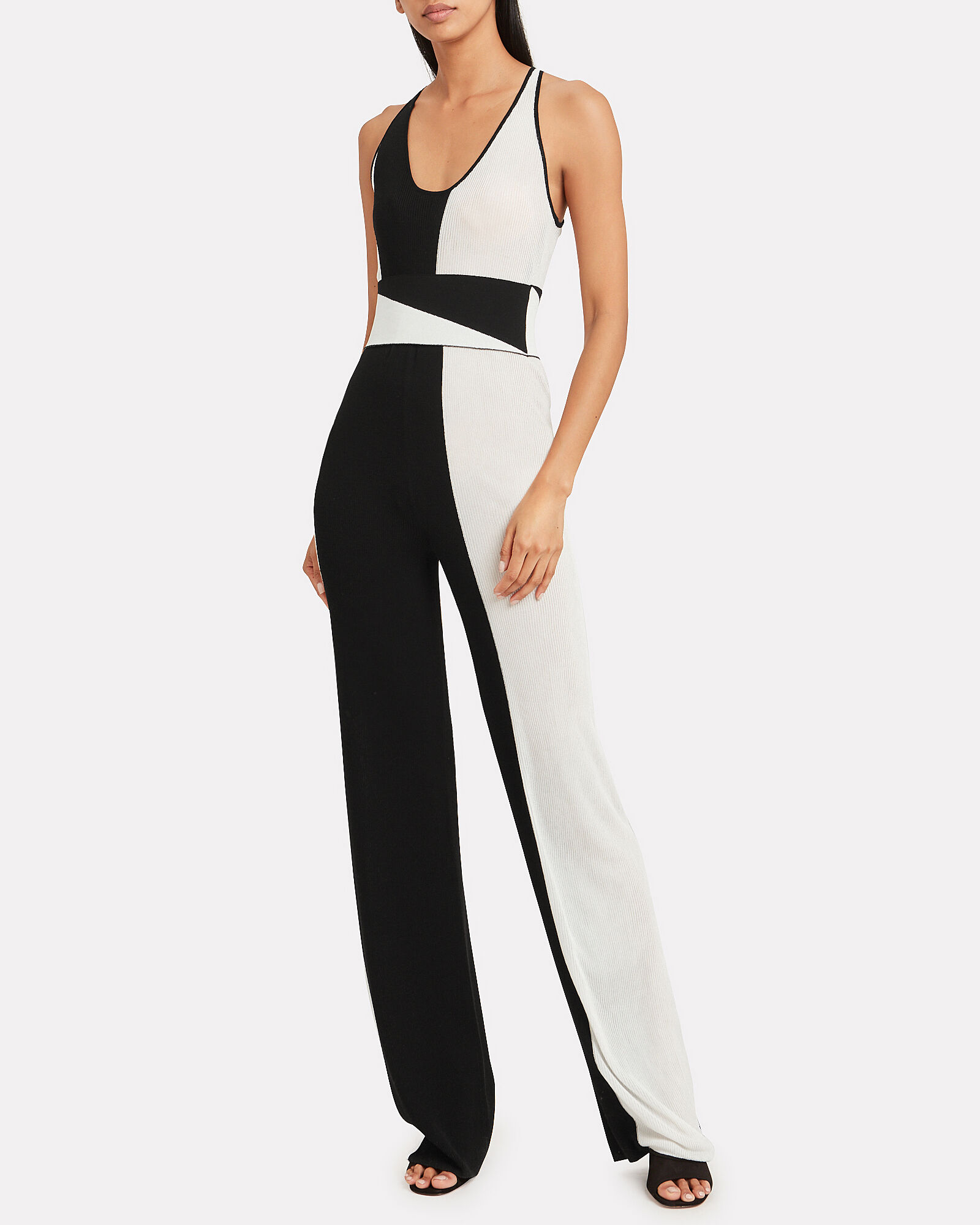 Two-In-One Colorblock Jumpsuit, BLK/WHT, hi-res