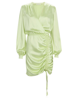 Justine Ruched Satin Dress, GREEN-LT, hi-res
