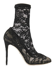 Black Lace Stretch Booties, BLACK, hi-res