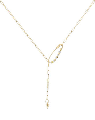 Shapeshifter Safety Pin Chain Necklace, GOLD, hi-res