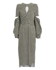 Blair Houndstooth Lantern Sleeve Dress, BLK/WHT, hi-res