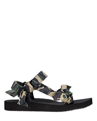 Trekky Camouflage Knotted Sandals, GREEN, hi-res