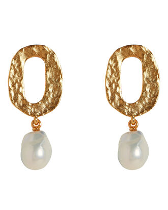 Baroque Pearl Hammered Gold Earrings, GOLD, hi-res