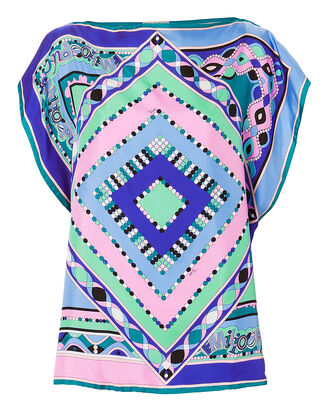 Scarf Silk Blouse, BLUE-MED, hi-res