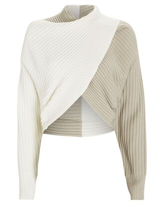Milena Cropped Rib Knit Sweater, IVORY, hi-res