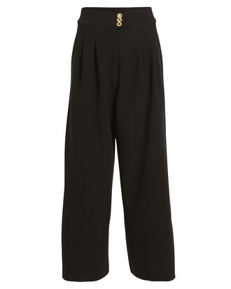 Siella Cropped Crepe Pants, BLACK, hi-res