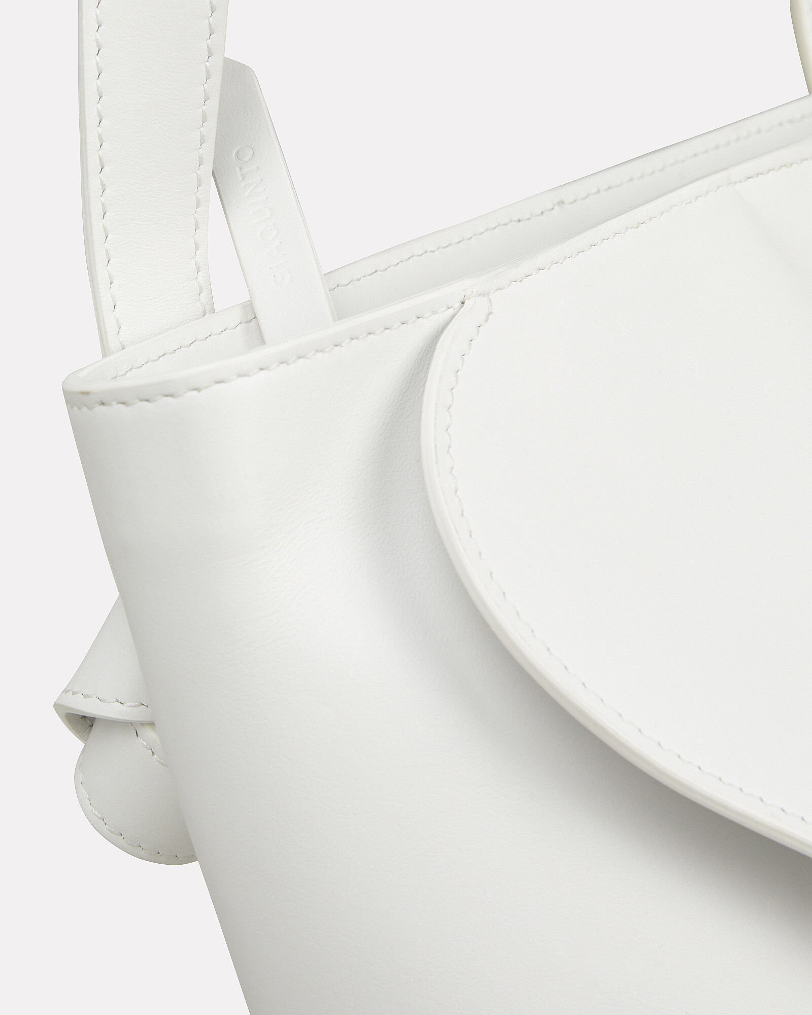 Layla Folded Leather Bucket Bag, WHITE, hi-res