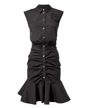 Bell Black Ruched Dress, BLACK, hi-res