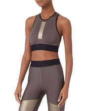 Altitude Silk Perforated Crop Top, BEIGE, hi-res