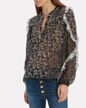 Norma Silk Georgette Blouse, BLACK, hi-res
