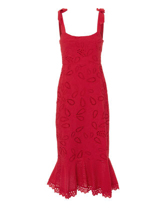 Rose Midi Dress, RED, hi-res