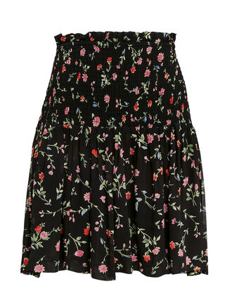 Printed Georgette Smocked Black Floral Mini Skirt, BLACK, hi-res