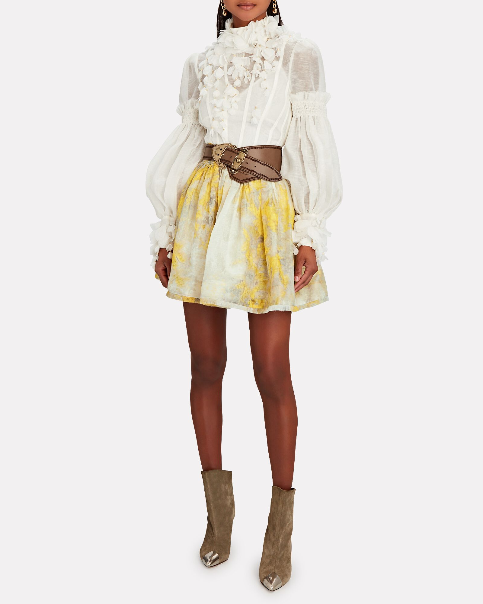 Botanica High Neck Petal Blouse, IVORY, hi-res