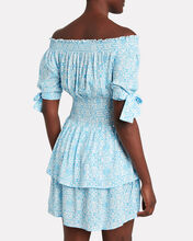 Camilla Printed Off-the-Shoulder Dress, BLUE-LT, hi-res