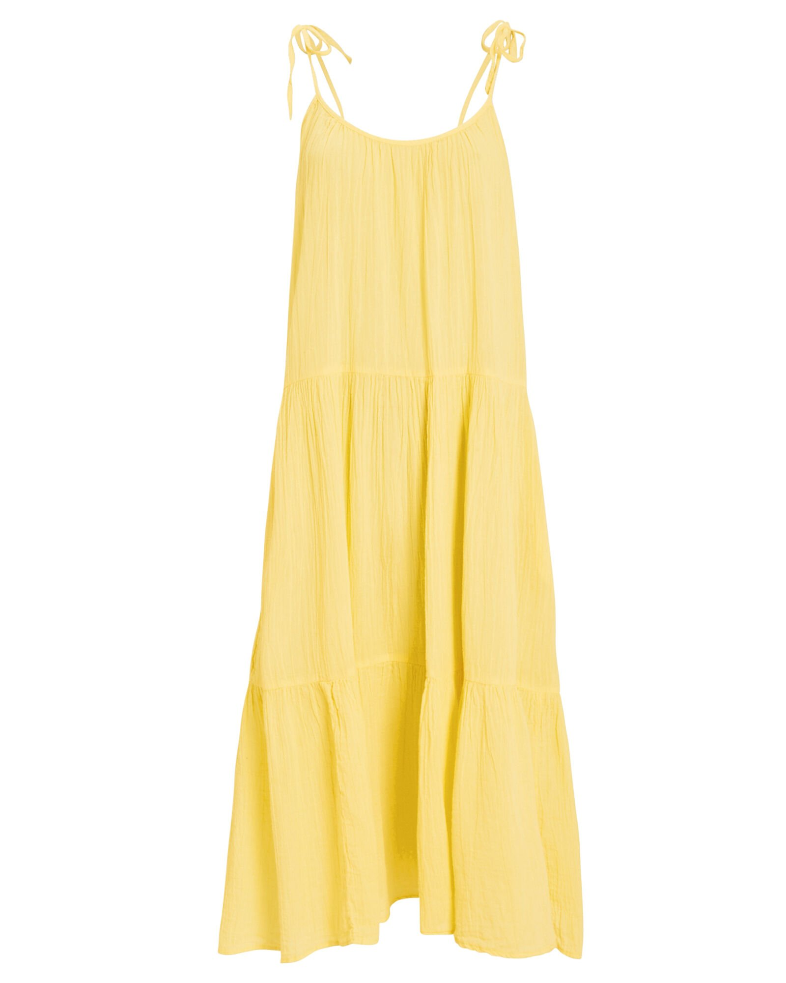 Daisy Tiered Tie Strap Dress, YELLOW, hi-res
