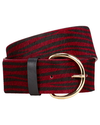Zebra Print Waist Belt, RED-DRK, hi-res