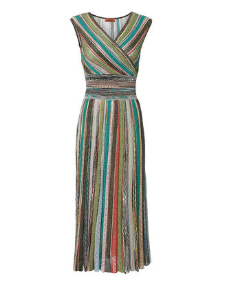 Striped Lurex Midi Dress, MULTI, hi-res