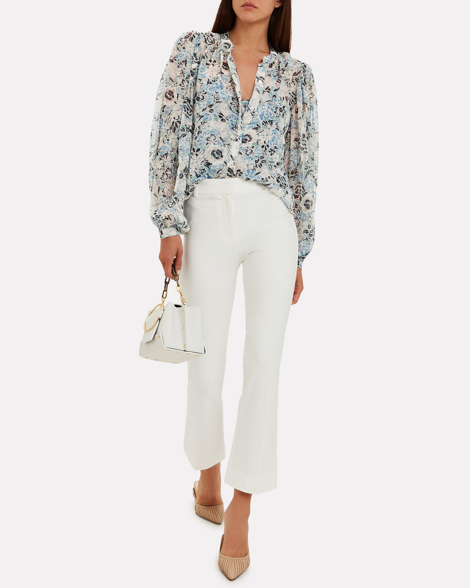 Flare Cotton Trousers, WHITE, hi-res