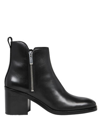 Alexa Leather Zip Booties, BLACK, hi-res