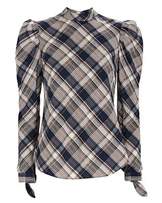 Isabel Plaid Puff Sleeve Blouse, NAVY/GREY/BROWN, hi-res