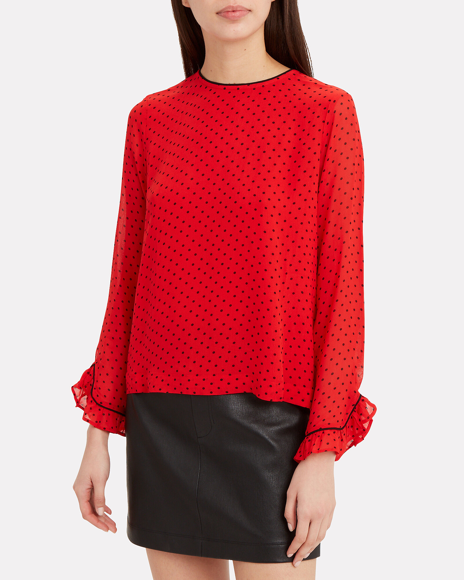 Fiery Polka Dot Blouse, RED, hi-res