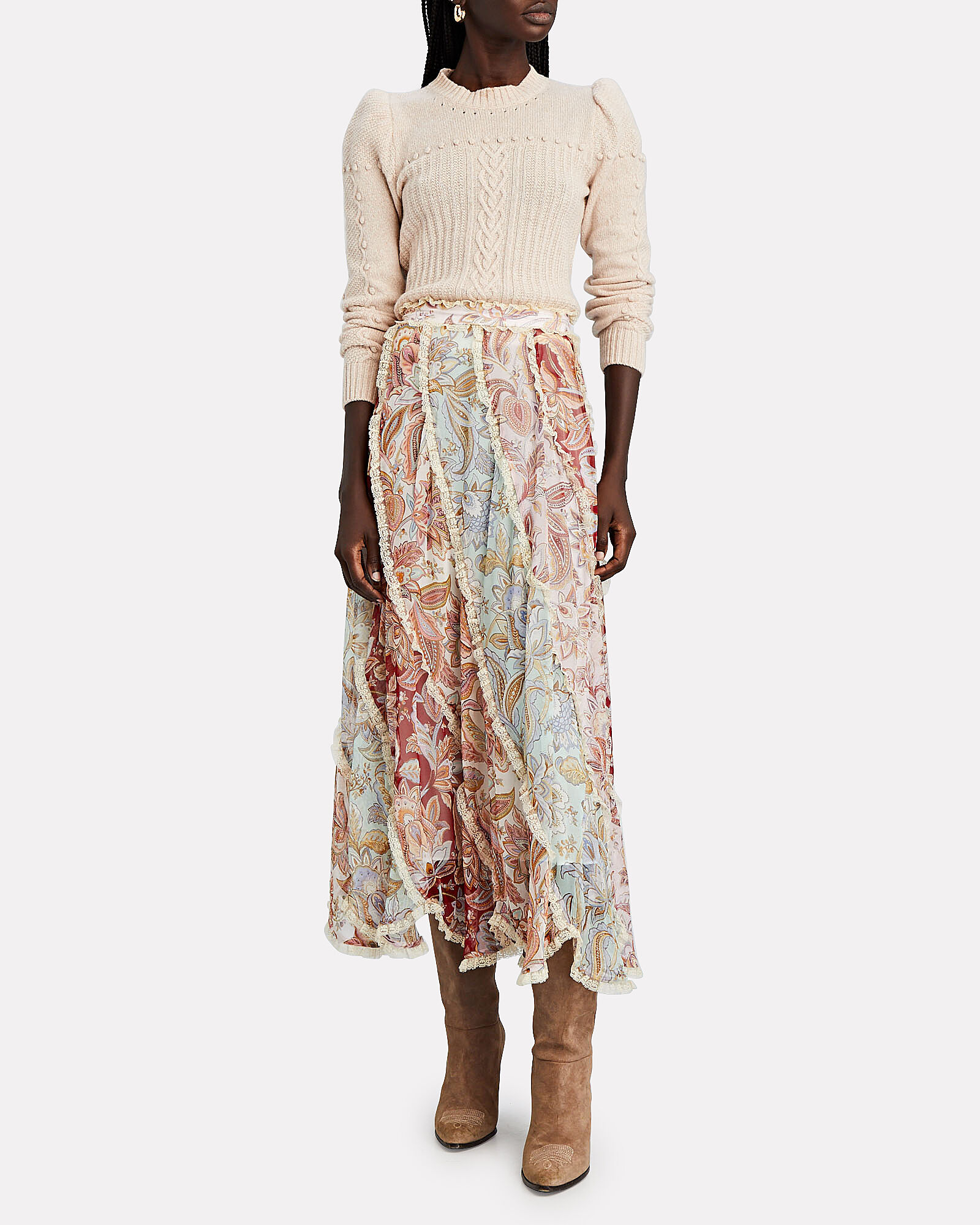 Ladybeetle Silk Floral Spliced Midi Skirt, LIGHT BLUE/BURGUNDY, hi-res