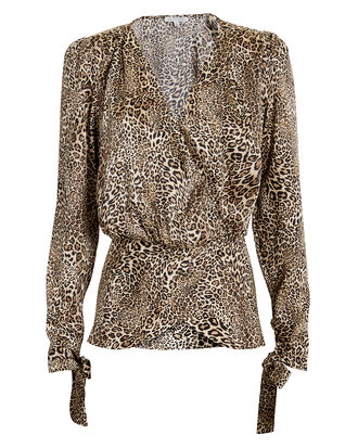 Crosella Leopard Crossover Blouse, MULTI, hi-res