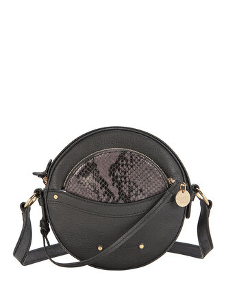 Pouch Detail Circular Leather Bag, BLACK, hi-res