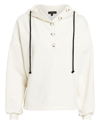 Button Front Terry Hoodie, WHITE, hi-res