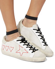 Red Stitched Superstar Sneakers, WHITE, hi-res
