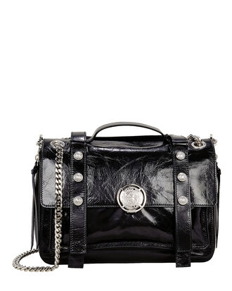 Studded Shoulder Bag, BLACK, hi-res