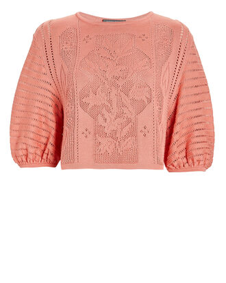 Puff Sleeve Cotton Sweater, CORAL, hi-res
