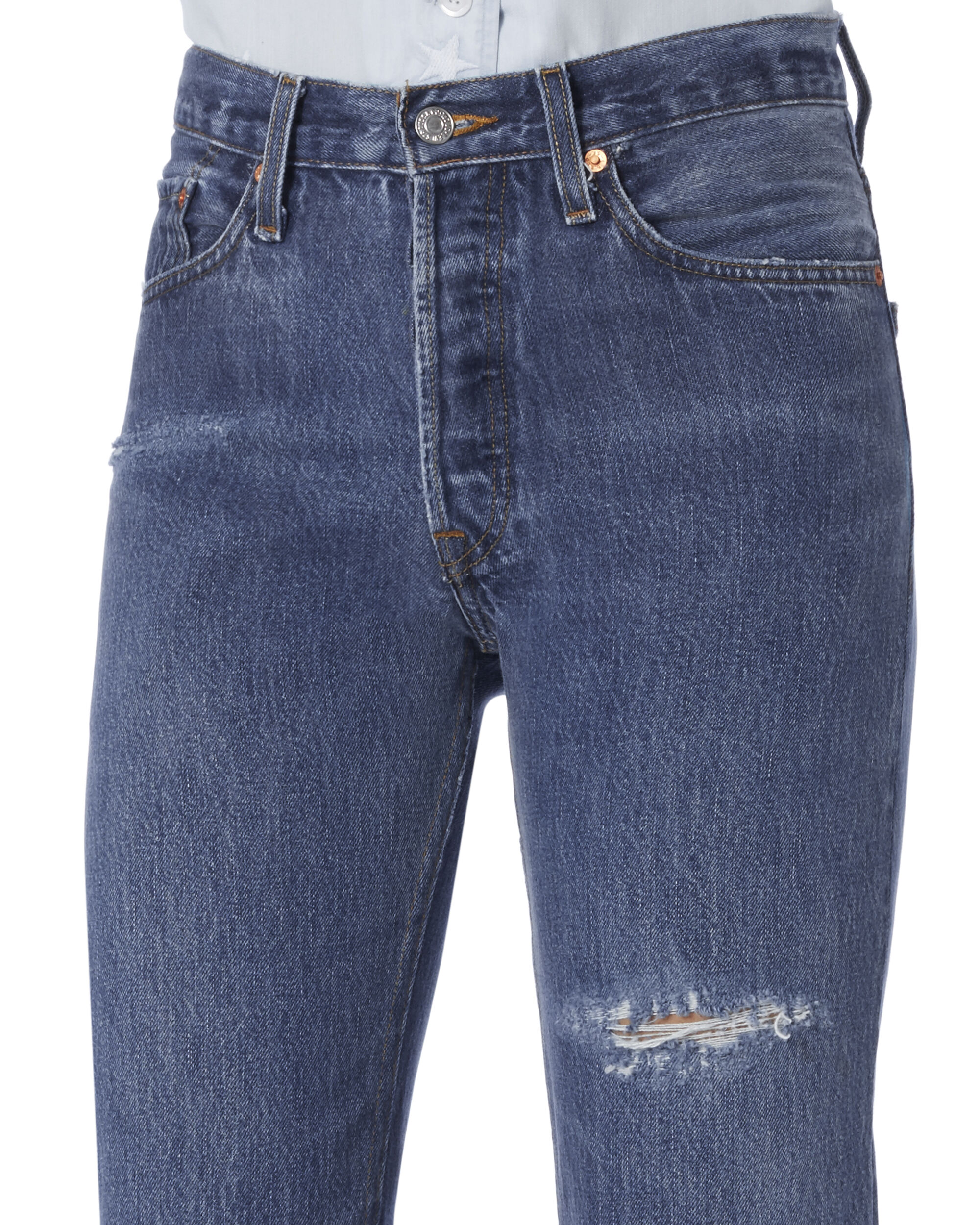 Straight Cuff Destroyed High-Rise Jeans, DENIM, hi-res