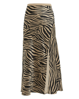 Zebra Slip Skirt, TAN/BLACK, hi-res