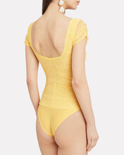 Deep-V Lace Bodysuit, YELLOW, hi-res