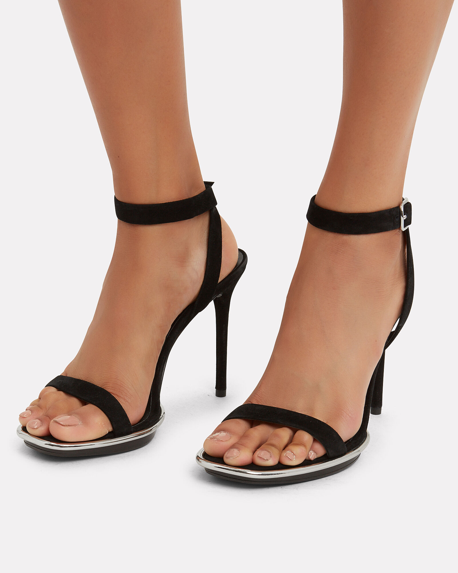 Cady Suede Heeled Sandals, BLACK, hi-res