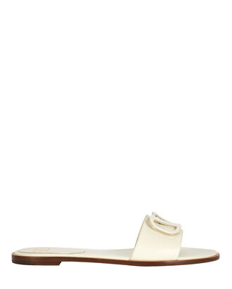 V Logo Leather Slide Sandals, IVORY, hi-res