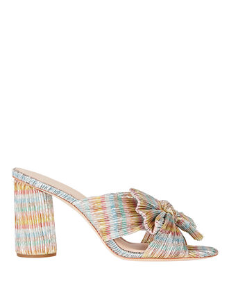 Penny Knotted Lamé Slide Sandals, METALLIC BLUE/PINK, hi-res