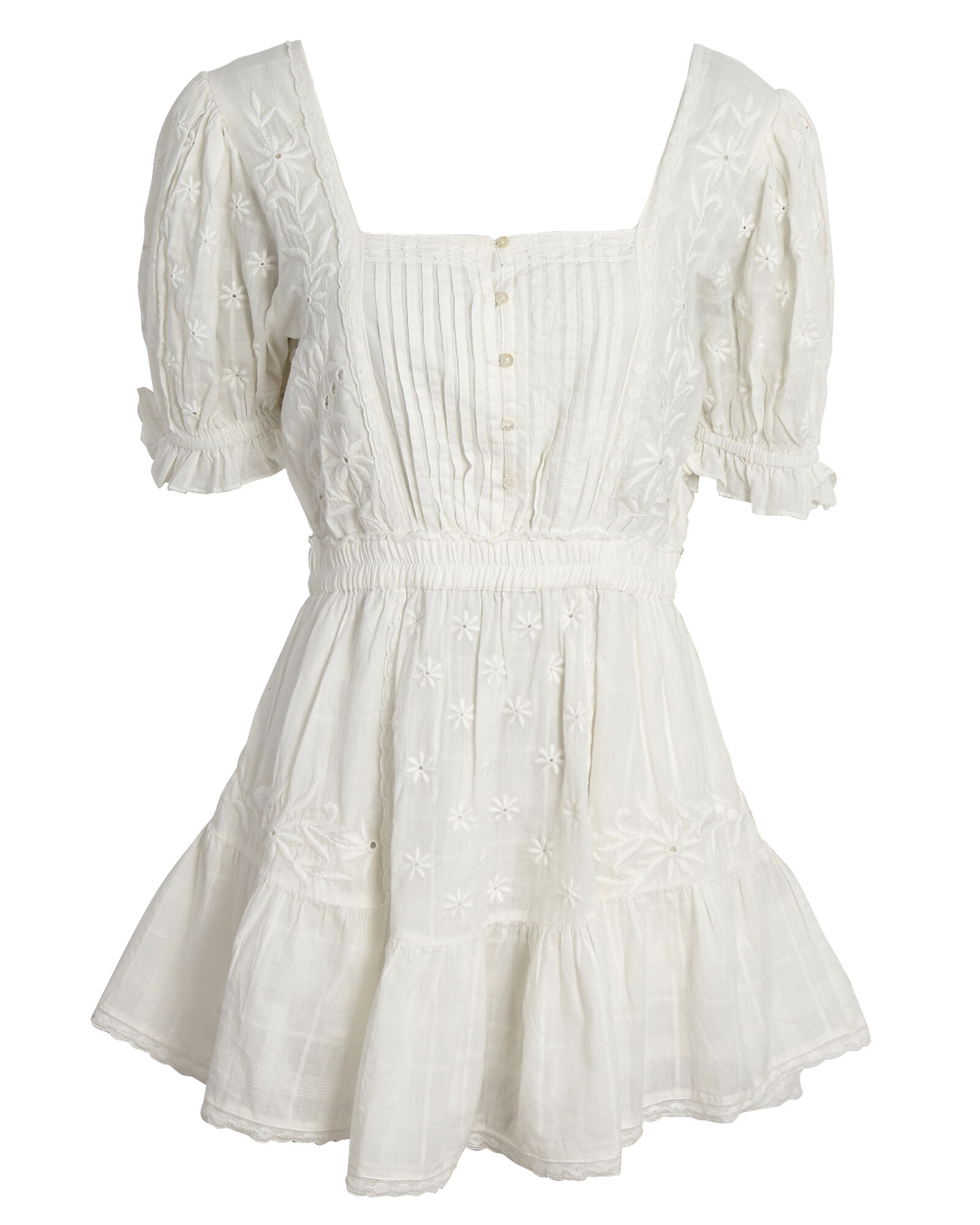 Tomasina Puff Sleeve Cotton Mini Dress, WHITE, hi-res