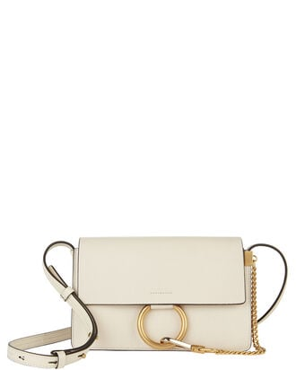 Small Faye Leather Crossbody Bag, WHITE, hi-res