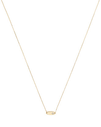 Super Tiny Oval Stamp Diamond Necklace, GOLD, hi-res