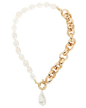 Aleko Pearl Rolo Chain Necklace, GOLD/IVORY, hi-res