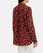 Printed Fiery Red Crepe Button Down Blouse, BLACK/RED, hi-res